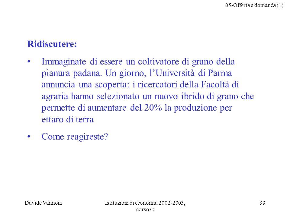 05-Offerta e domanda (1) Davide VannoniIstituzioni di economia 2002-2003, corso C 39 Ridiscutere: Immaginate di essere un coltivatore di grano della p
