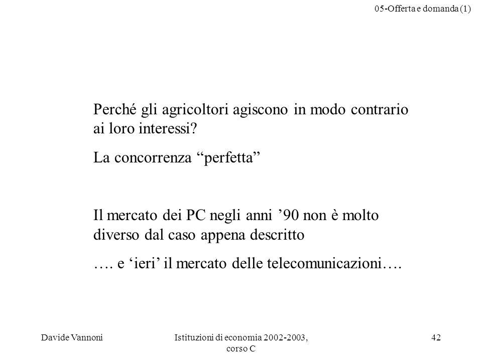 05-Offerta e domanda (1) Davide VannoniIstituzioni di economia 2002-2003, corso C 42 Perché gli agricoltori agiscono in modo contrario ai loro interessi.