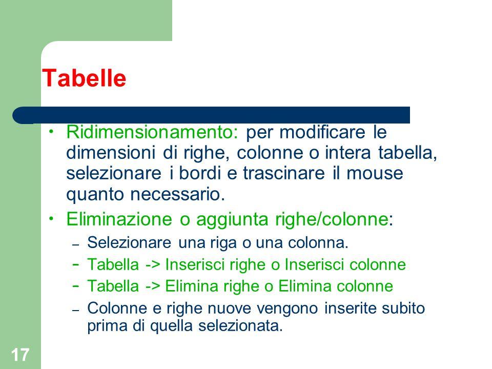 17 Tabelle Ridimensionamento: per modificare le dimensioni di righe, colonne o intera tabella, selezionare i bordi e trascinare il mouse quanto necess
