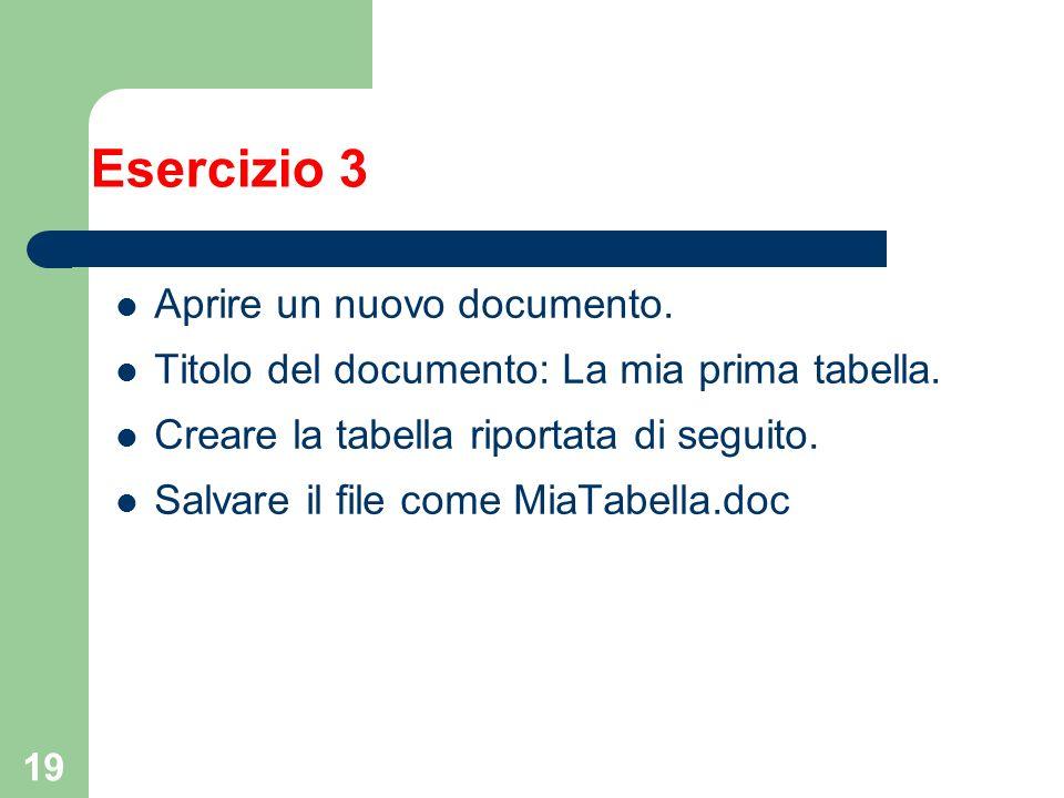 19 Esercizio 3 Aprire un nuovo documento. Titolo del documento: La mia prima tabella. Creare la tabella riportata di seguito. Salvare il file come Mia