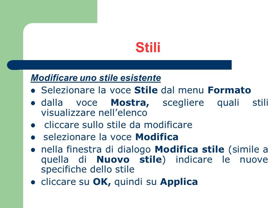 Stili Modificare uno stile esistente Selezionare la voce Stile dal menu Formato dalla voce Mostra, scegliere quali stili visualizzare nellelenco clicc