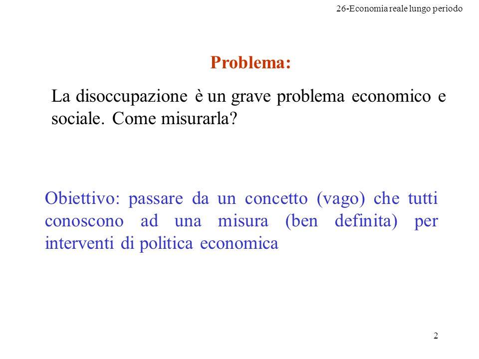 26-Economia reale lungo periodo 2 Problema: La disoccupazione è un grave problema economico e sociale.