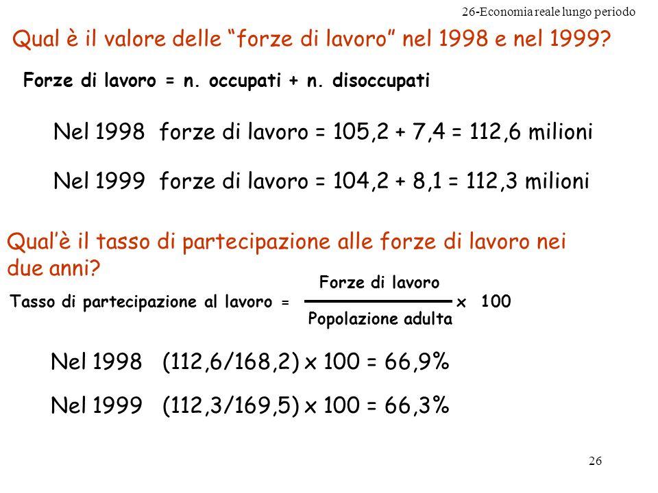 26-Economia reale lungo periodo 26 Qual è il valore delle forze di lavoro nel 1998 e nel 1999.