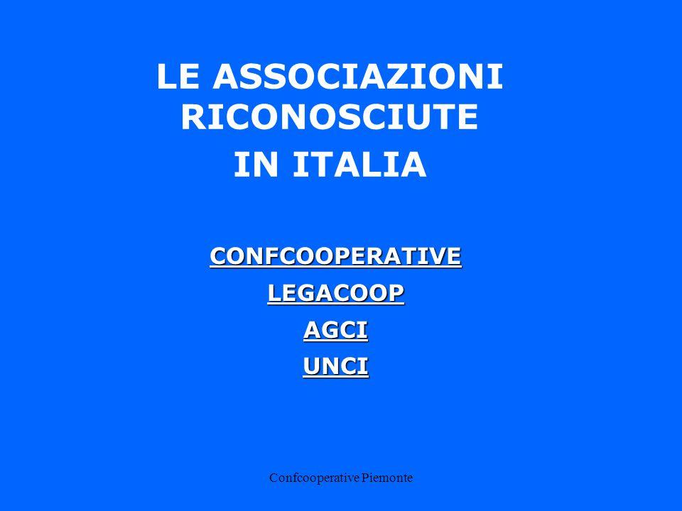 Confcooperative Piemonte CONFCOOPERATIVE PIEMONTE I DATI (al 31/12/2002) 1244 cooperative 148.000 soci 25.000 addetti € 5.165.917.308 (ricavi)