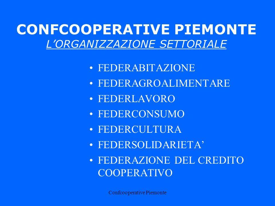 Confcooperative Piemonte CONFCOOPERATIVE PIEMONTE LORGANIZZAZIONE SETTORIALE FEDERABITAZIONE FEDERAGROALIMENTARE FEDERLAVORO FEDERCONSUMO FEDERCULTURA FEDERSOLIDARIETA FEDERAZIONE DEL CREDITO COOPERATIVO