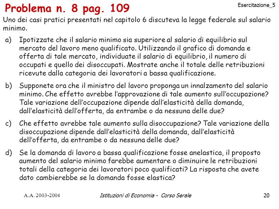 Esercitazione_5 A.A. 2003-2004Istituzioni di Economia - Corso Serale20 Problema n.