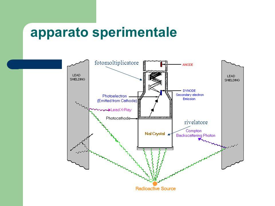 Schema del circuito di acquisizione dati I raggi vengono convertiti in un e - nello scintillatore I fotoni di scintillazione sono proporzionali allenergia delle - I fotoni vengono convertiti in e - e moltiplicati nel PM Il segnale di corrente viene amplificato e la sua ampiezza viene misurata dallADC LMCA conta quanti eventi hanno la stessa ampiezza e li organizza in un istogramma NaI-TlPM Amplificatore ADC MCA 137 Cs