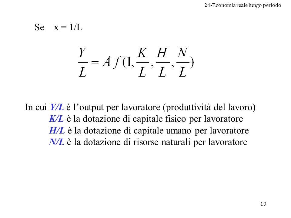 24-Economia reale lungo periodo 10 Se x = 1/L In cui Y/L è loutput per lavoratore (produttività del lavoro) K/L è la dotazione di capitale fisico per