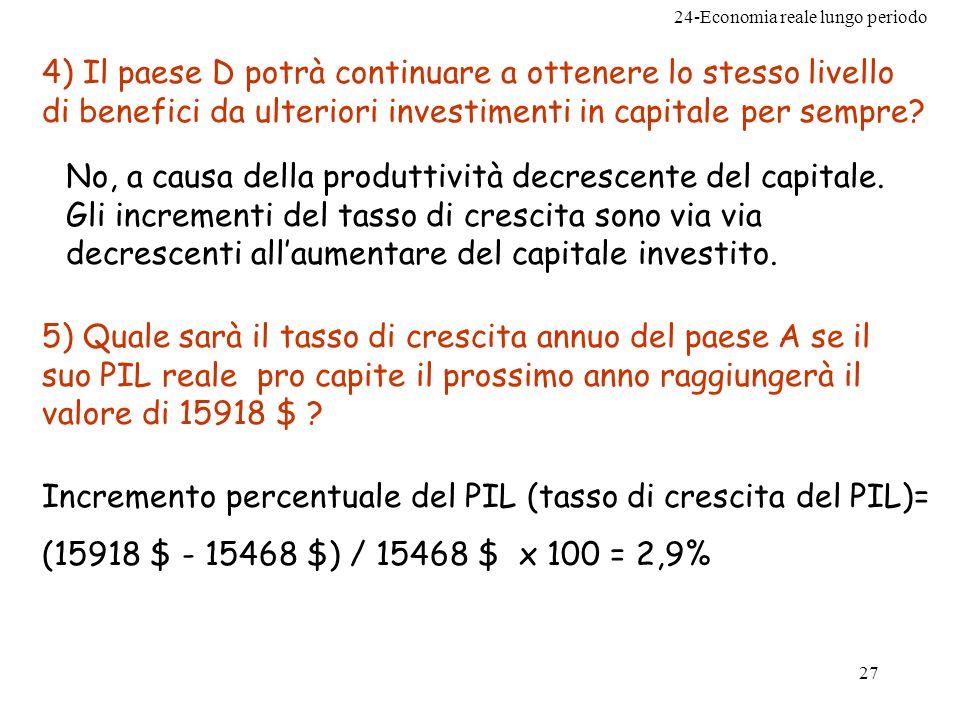 24-Economia reale lungo periodo 27 4) Il paese D potrà continuare a ottenere lo stesso livello di benefici da ulteriori investimenti in capitale per s