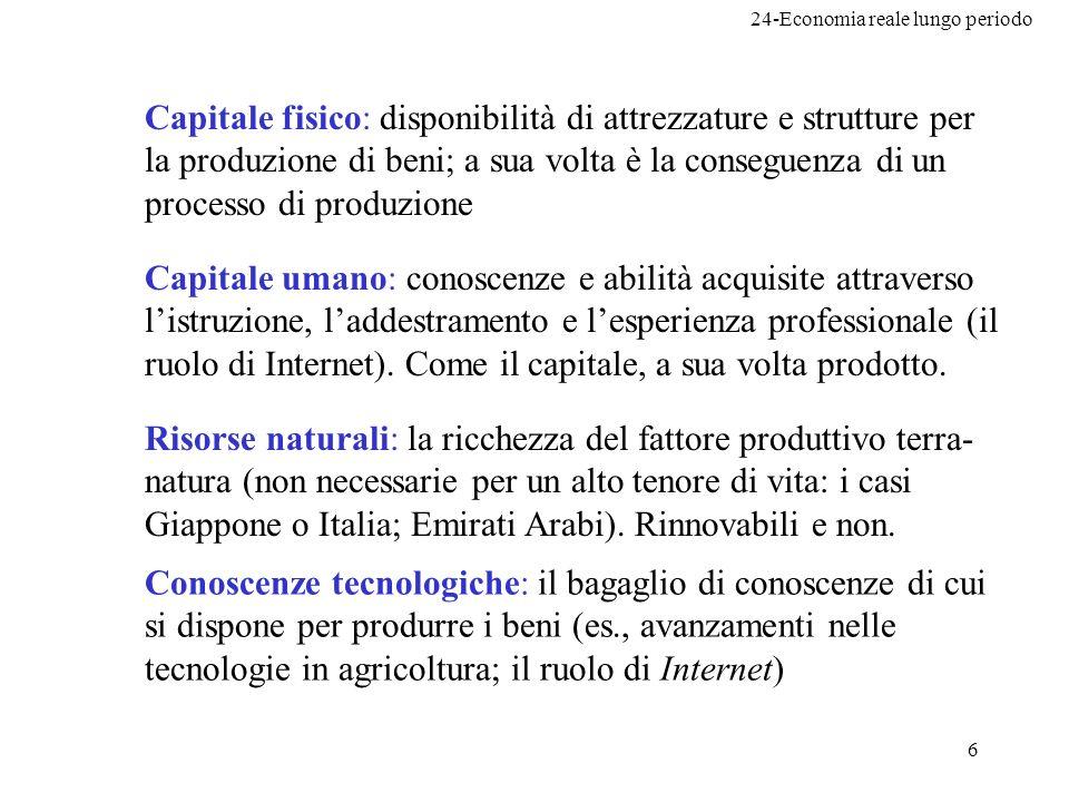 24-Economia reale lungo periodo 6 Capitale fisico: disponibilità di attrezzature e strutture per la produzione di beni; a sua volta è la conseguenza d