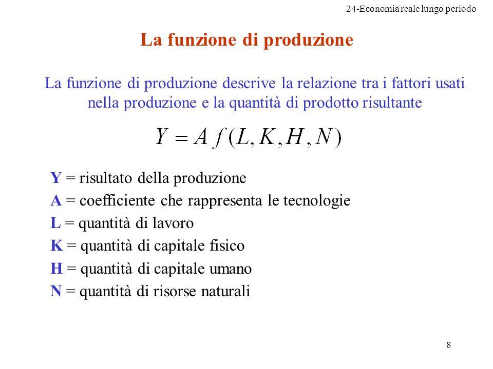 24-Economia reale lungo periodo 8 La funzione di produzione La funzione di produzione descrive la relazione tra i fattori usati nella produzione e la