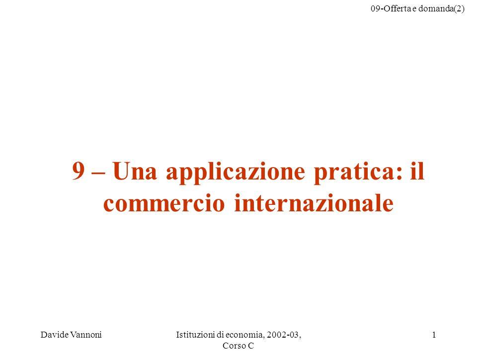 09-Offerta e domanda(2) Davide VannoniIstituzioni di economia, 2002-03, Corso C 1 9 – Una applicazione pratica: il commercio internazionale