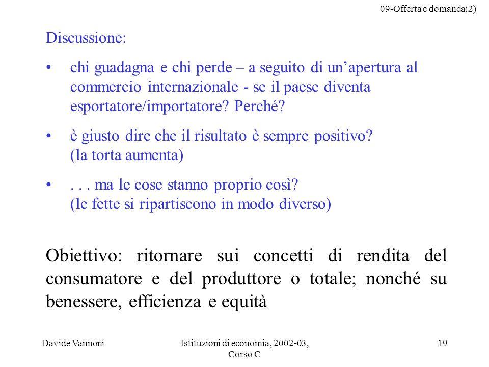 09-Offerta e domanda(2) Davide VannoniIstituzioni di economia, 2002-03, Corso C 19 Discussione: chi guadagna e chi perde – a seguito di unapertura al