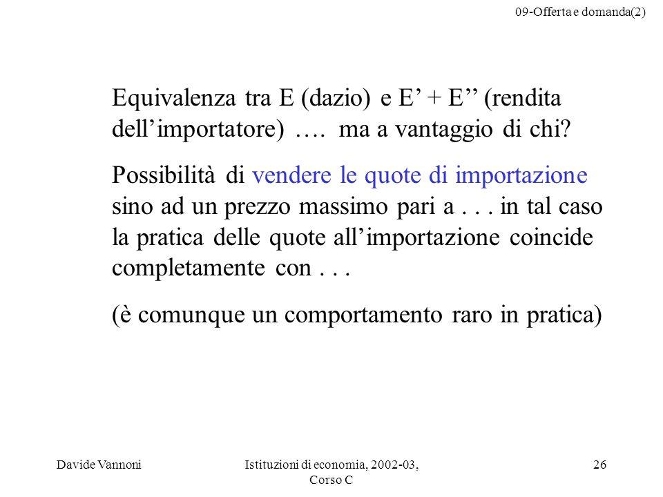 09-Offerta e domanda(2) Davide VannoniIstituzioni di economia, 2002-03, Corso C 26 Equivalenza tra E (dazio) e E + E (rendita dellimportatore) …. ma a