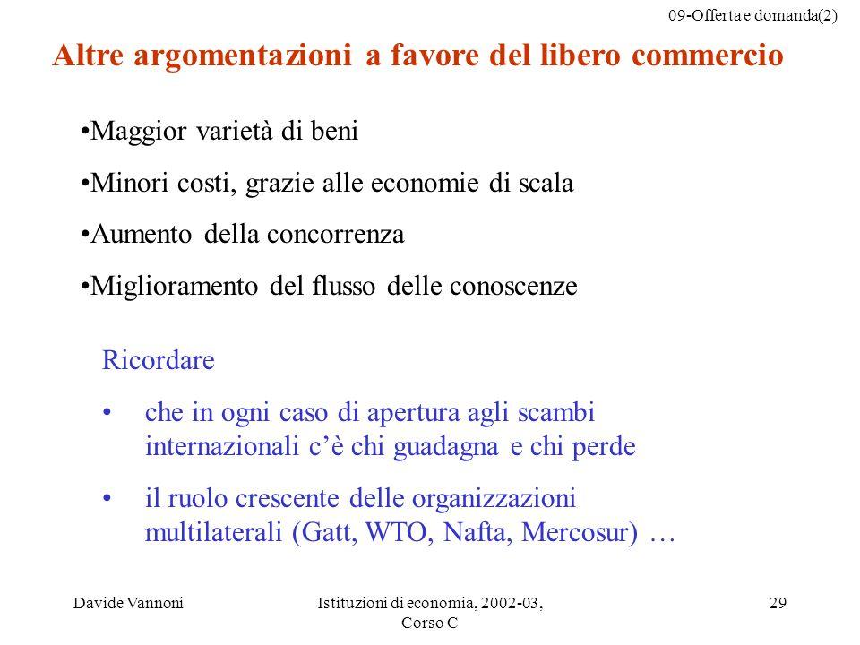 09-Offerta e domanda(2) Davide VannoniIstituzioni di economia, 2002-03, Corso C 29 Ricordare che in ogni caso di apertura agli scambi internazionali c