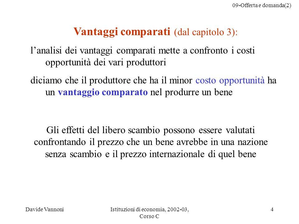 09-Offerta e domanda(2) Davide VannoniIstituzioni di economia, 2002-03, Corso C 4 Vantaggi comparati (dal capitolo 3): lanalisi dei vantaggi comparati