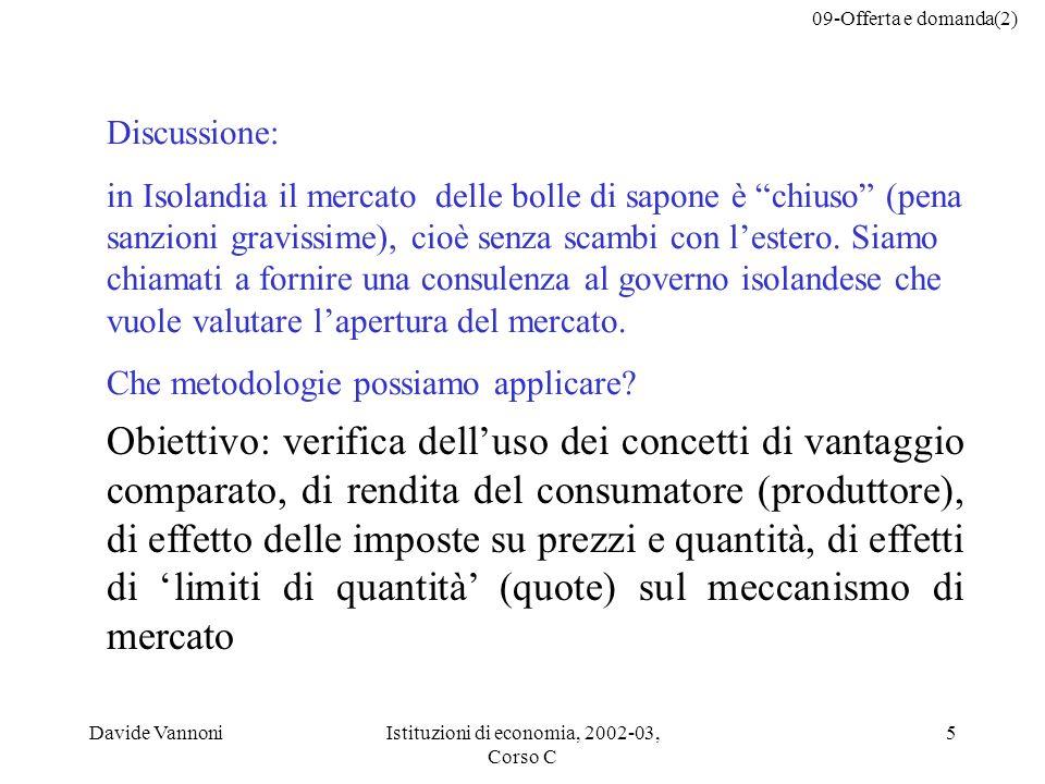 09-Offerta e domanda(2) Davide VannoniIstituzioni di economia, 2002-03, Corso C 5 Discussione: in Isolandia il mercato delle bolle di sapone è chiuso