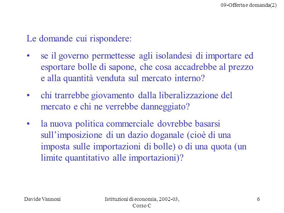 09-Offerta e domanda(2) Davide VannoniIstituzioni di economia, 2002-03, Corso C 6 Le domande cui rispondere: se il governo permettesse agli isolandesi