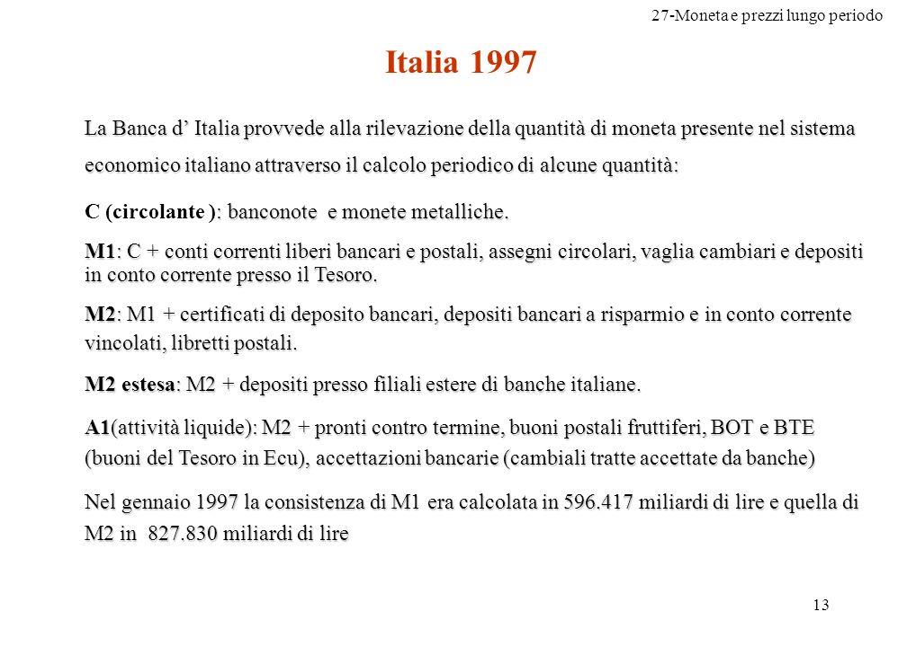 27-Moneta e prezzi lungo periodo 13 Italia 1997 La Banca d Italia provvede alla rilevazione della quantità di moneta presente nel sistema economico it