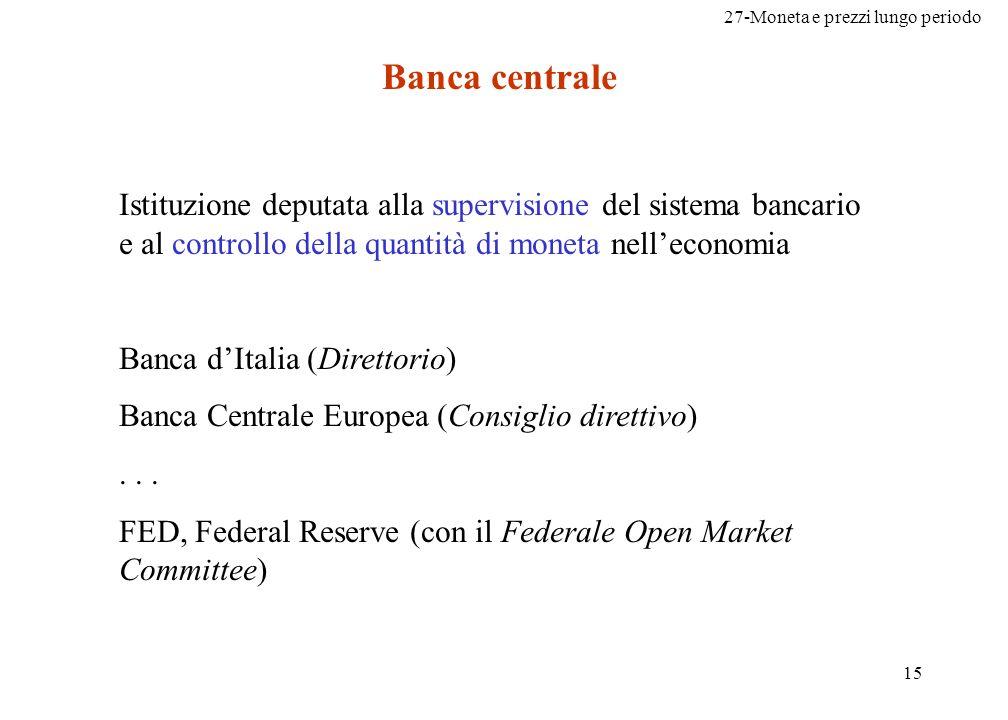 27-Moneta e prezzi lungo periodo 15 Banca centrale Istituzione deputata alla supervisione del sistema bancario e al controllo della quantità di moneta