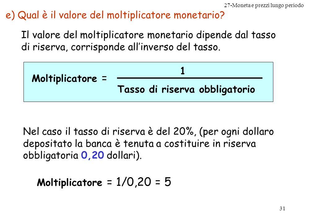 27-Moneta e prezzi lungo periodo 31 e) Qual è il valore del moltiplicatore monetario? Il valore del moltiplicatore monetario dipende dal tasso di rise