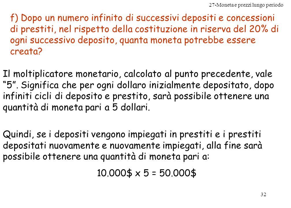 27-Moneta e prezzi lungo periodo 32 f) Dopo un numero infinito di successivi depositi e concessioni di prestiti, nel rispetto della costituzione in ri