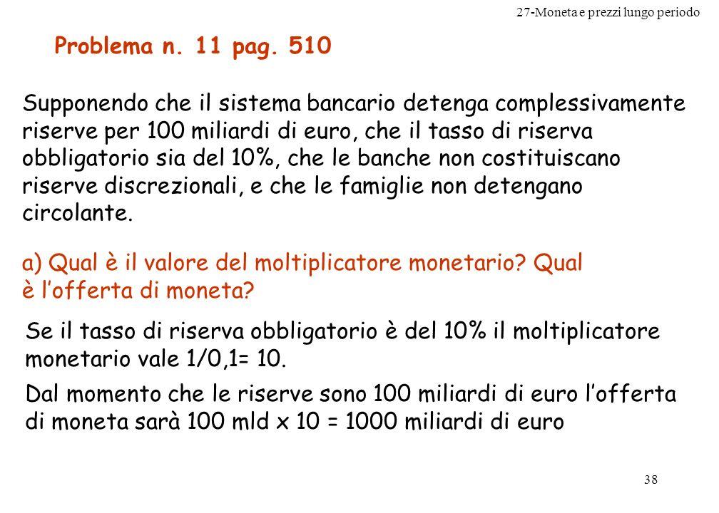 27-Moneta e prezzi lungo periodo 38 Problema n. 11 pag. 510 Supponendo che il sistema bancario detenga complessivamente riserve per 100 miliardi di eu