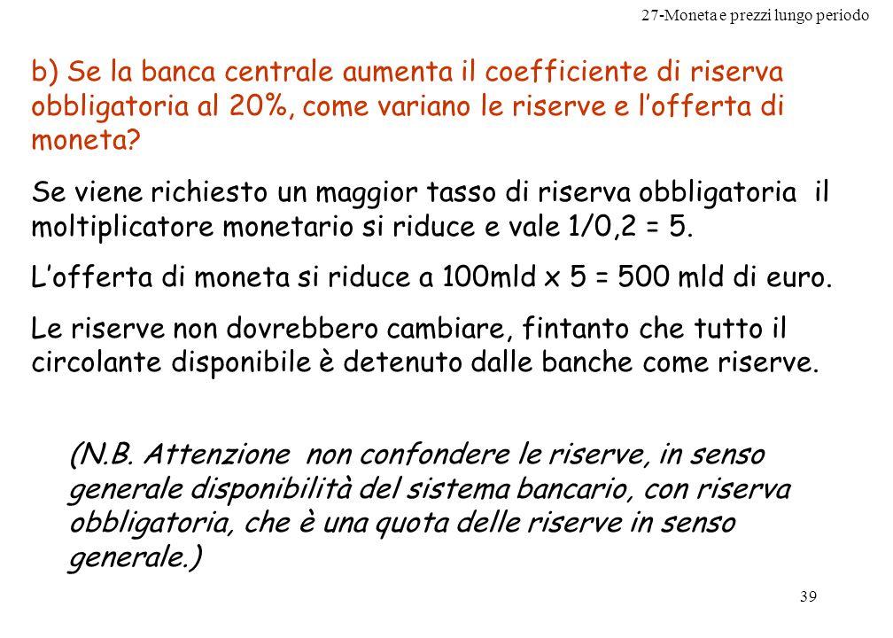 27-Moneta e prezzi lungo periodo 39 b) Se la banca centrale aumenta il coefficiente di riserva obbligatoria al 20%, come variano le riserve e lofferta