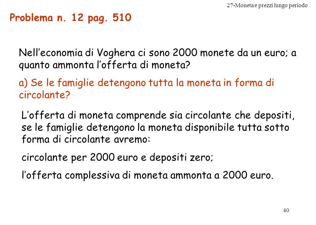 27-Moneta e prezzi lungo periodo 40 Problema n. 12 pag. 510 Nelleconomia di Voghera ci sono 2000 monete da un euro; a quanto ammonta lofferta di monet