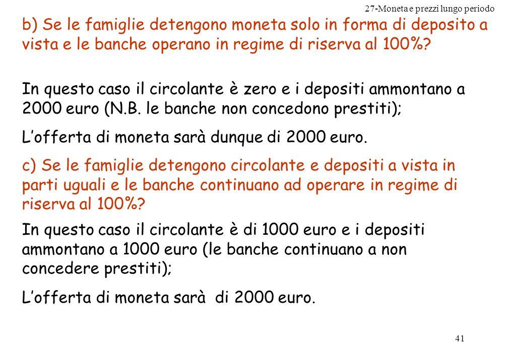 27-Moneta e prezzi lungo periodo 41 b) Se le famiglie detengono moneta solo in forma di deposito a vista e le banche operano in regime di riserva al 1