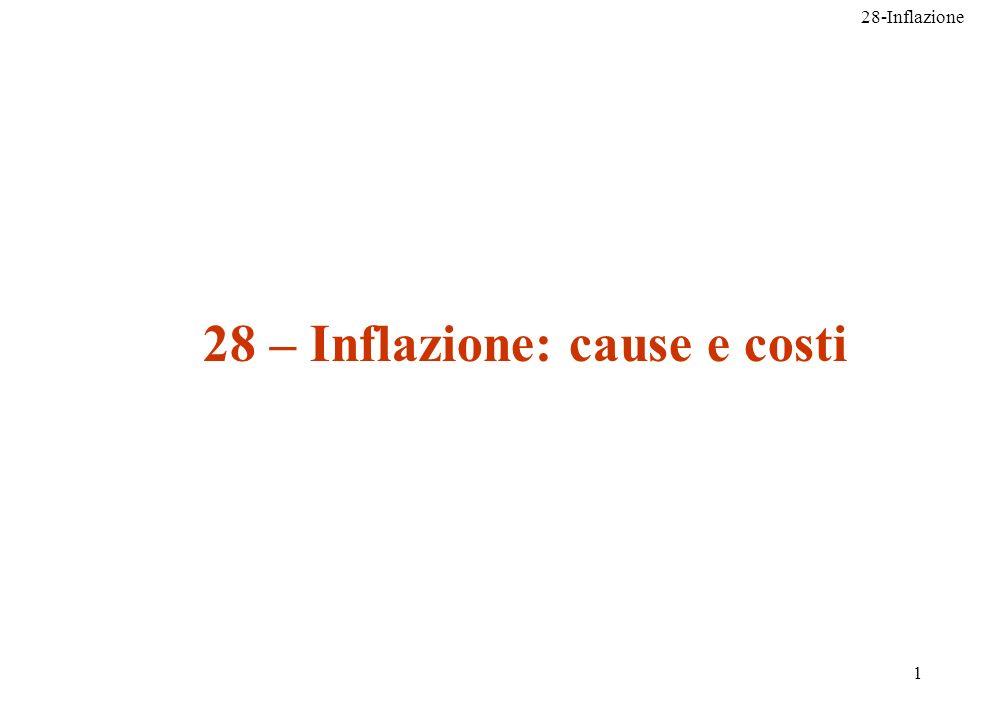 28-Inflazione 32 e) Quando linflazione diventa molto alta, le persone preferiscono non detenere a lungo la moneta perché questa si svaluta rapidamente.