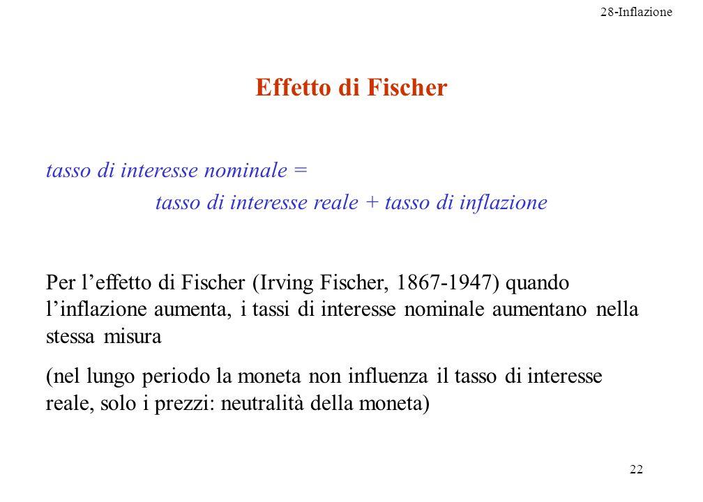 28-Inflazione 22 Effetto di Fischer tasso di interesse nominale = tasso di interesse reale + tasso di inflazione Per leffetto di Fischer (Irving Fisch