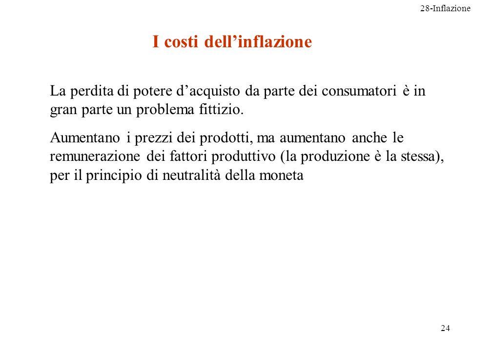 28-Inflazione 24 La perdita di potere dacquisto da parte dei consumatori è in gran parte un problema fittizio. Aumentano i prezzi dei prodotti, ma aum