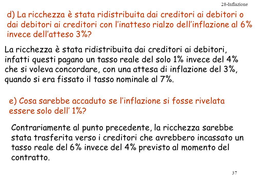 28-Inflazione 37 d) La ricchezza è stata ridistribuita dai creditori ai debitori o dai debitori ai creditori con linatteso rialzo dellinflazione al 6%