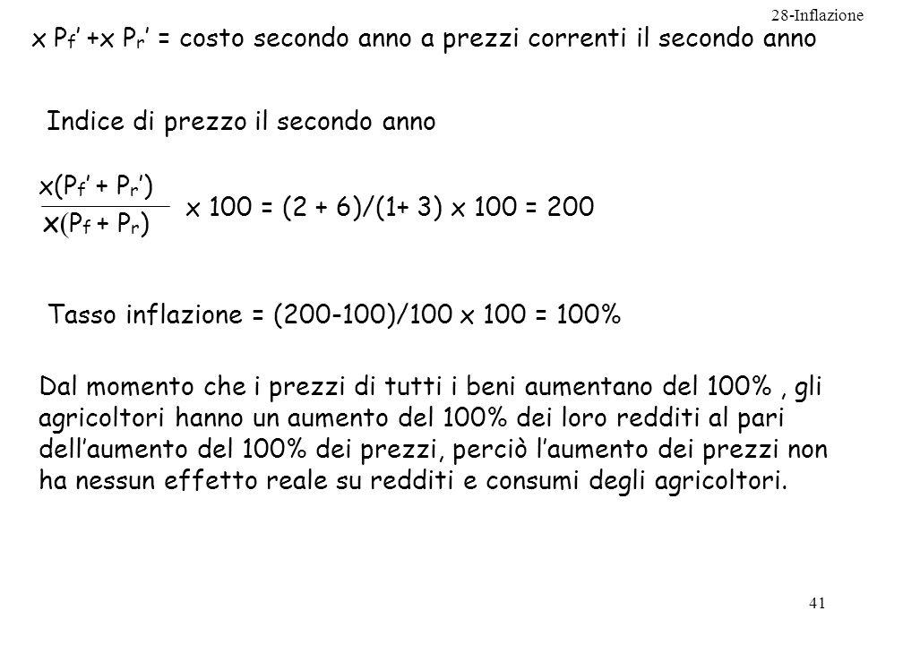 28-Inflazione 41 x P f +x P r = costo secondo anno a prezzi correnti il secondo anno x(P f + P r ) x 100 = (2 + 6)/(1+ 3) x 100 = 200 Indice di prezzo