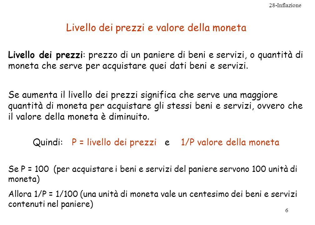 28-Inflazione 6 Livello dei prezzi e valore della moneta Livello dei prezzi: prezzo di un paniere di beni e servizi, o quantità di moneta che serve pe