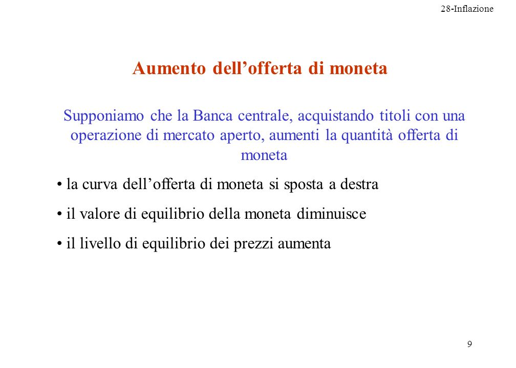 28-Inflazione 9 Aumento dellofferta di moneta Supponiamo che la Banca centrale, acquistando titoli con una operazione di mercato aperto, aumenti la qu