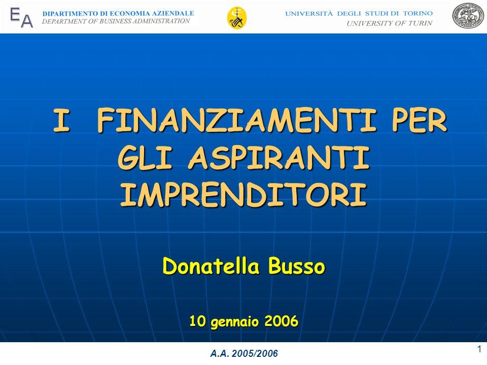 A.A. 2005/2006 1 I FINANZIAMENTI PER GLI ASPIRANTI IMPRENDITORI Donatella Busso 10 gennaio 2006