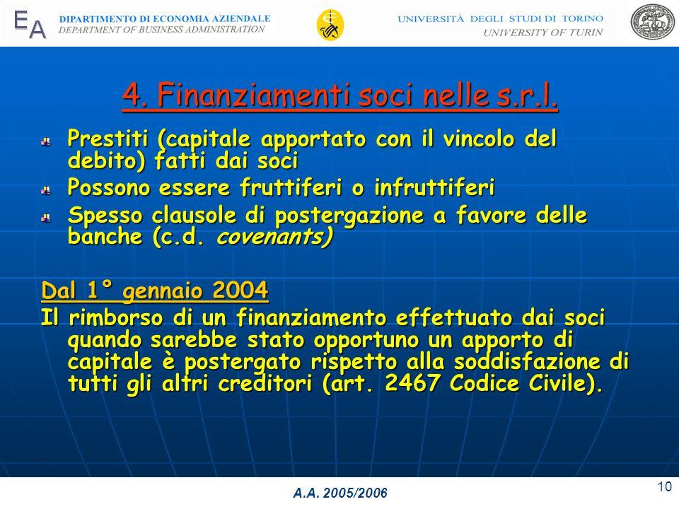 A.A. 2005/2006 10 4. Finanziamenti soci nelle s.r.l.