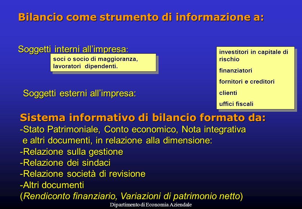 Dipartimento di Economia Aziendale Bilancio come strumento di informazione a: Soggetti interni allimpresa : Soggetti esterni allimpresa: Sistema infor