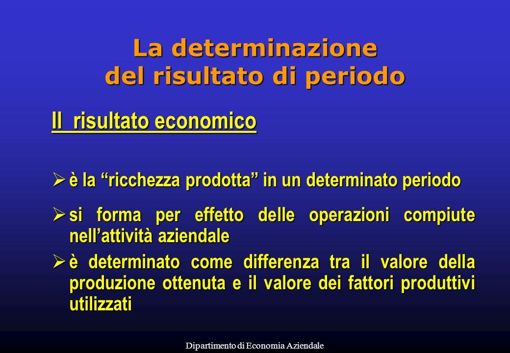 Dipartimento di Economia Aziendale La determinazione del risultato di periodo Il risultato economico è la ricchezza prodotta in un determinato periodo