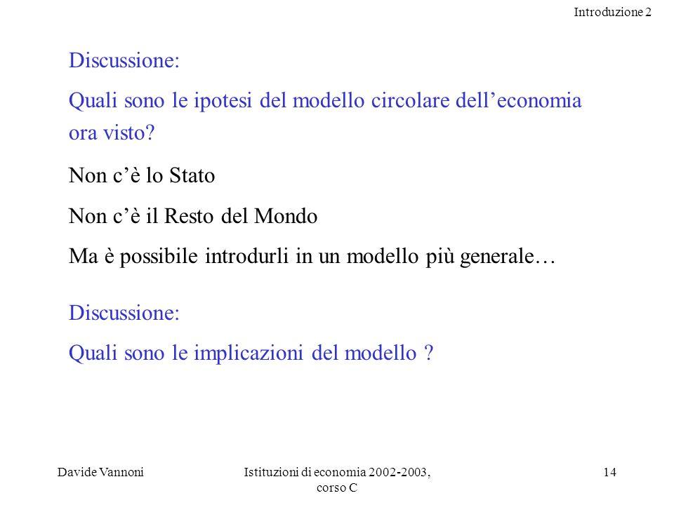 Introduzione 2 Davide VannoniIstituzioni di economia 2002-2003, corso C 14 Discussione: Quali sono le ipotesi del modello circolare delleconomia ora visto.