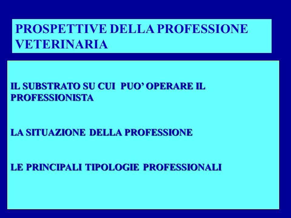 IL SUBSTRATO SU CUI PUO OPERARE IL PROFESSIONISTA LA SITUAZIONE DELLA PROFESSIONE LE PRINCIPALI TIPOLOGIE PROFESSIONALI PROSPETTIVE DELLA PROFESSIONE VETERINARIA