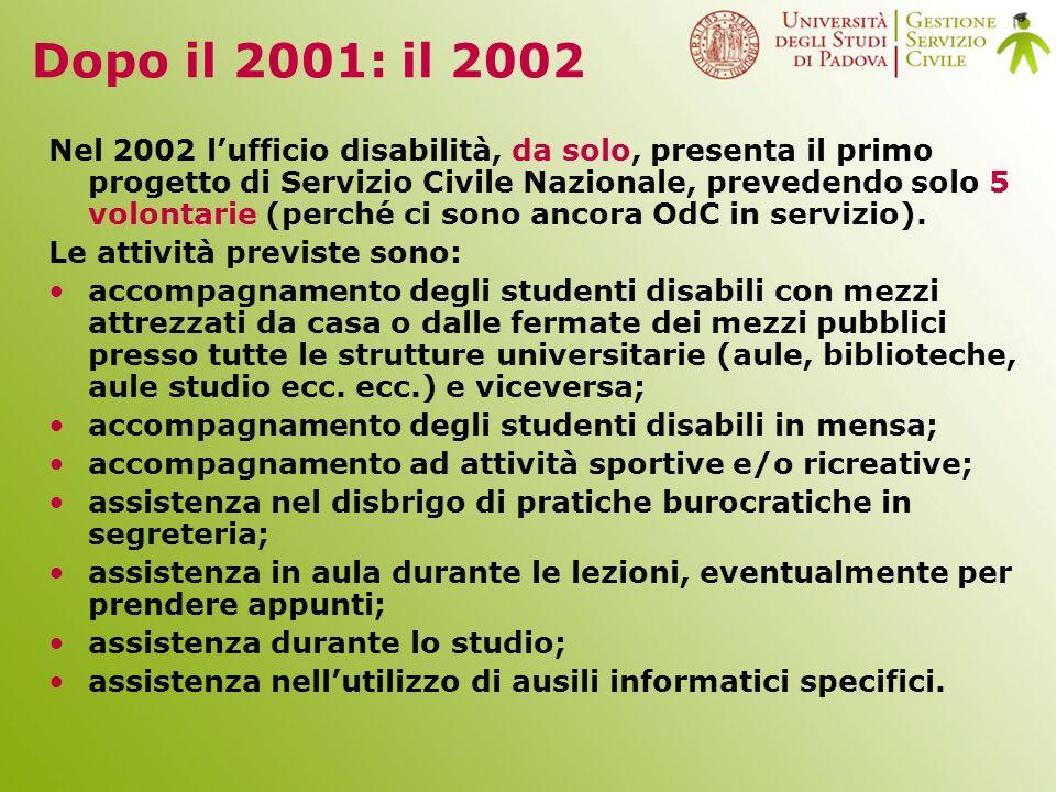 Dopo il 2001: il 2002 Nel 2002 lufficio disabilità, da solo, presenta il primo progetto di Servizio Civile Nazionale, prevedendo solo 5 volontarie (perché ci sono ancora OdC in servizio).