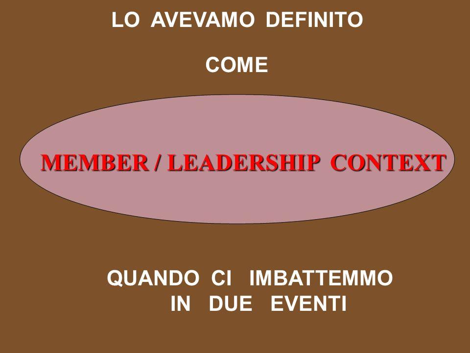 LO AVEVAMO DEFINITO COME MEMBER / LEADERSHIP CONTEXT QUANDO CI IMBATTEMMO IN DUE EVENTI