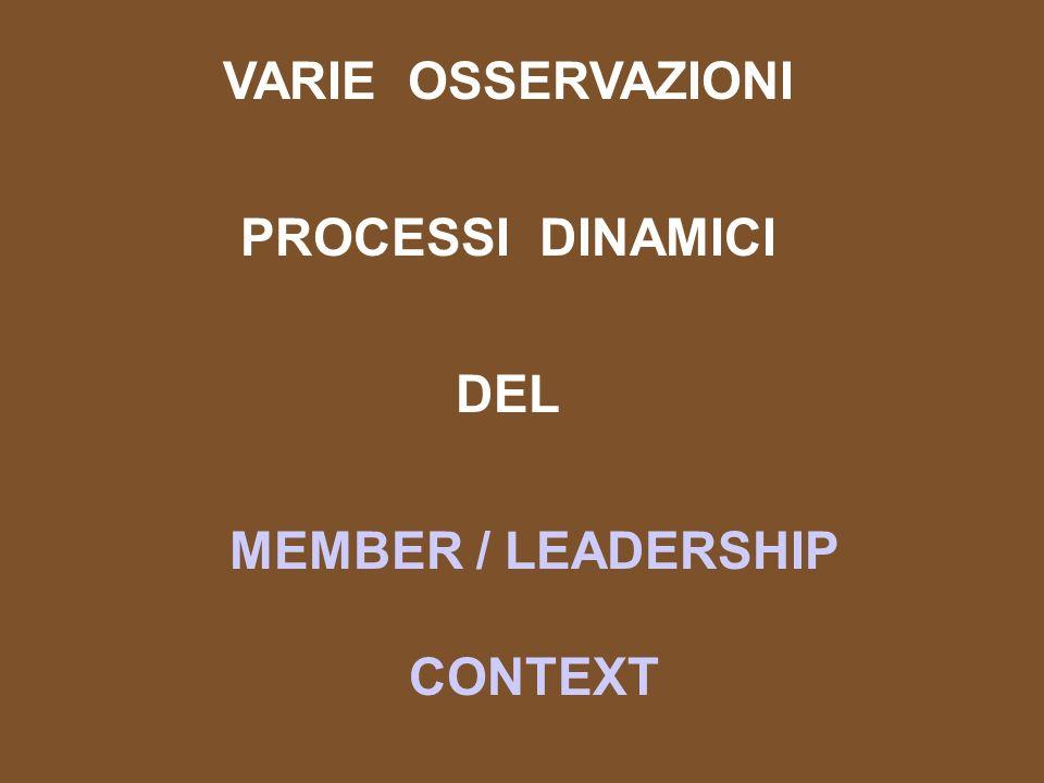 VARIE OSSERVAZIONI PROCESSI DINAMICI DEL MEMBER / LEADERSHIP CONTEXT