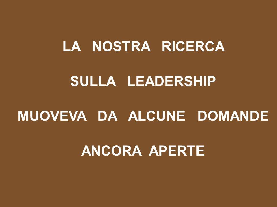 LA NOSTRA RICERCA SULLA LEADERSHIP MUOVEVA DA ALCUNE DOMANDE ANCORA APERTE