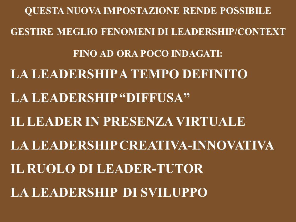 QUESTA NUOVA IMPOSTAZIONE RENDE POSSIBILE GESTIRE MEGLIO FENOMENI DI LEADERSHIP/CONTEXT FINO AD ORA POCO INDAGATI: LA LEADERSHIP A TEMPO DEFINITO LA LEADERSHIP DIFFUSA IL LEADER IN PRESENZA VIRTUALE LA LEADERSHIP CREATIVA-INNOVATIVA IL RUOLO DI LEADER-TUTOR LA LEADERSHIP DI SVILUPPO
