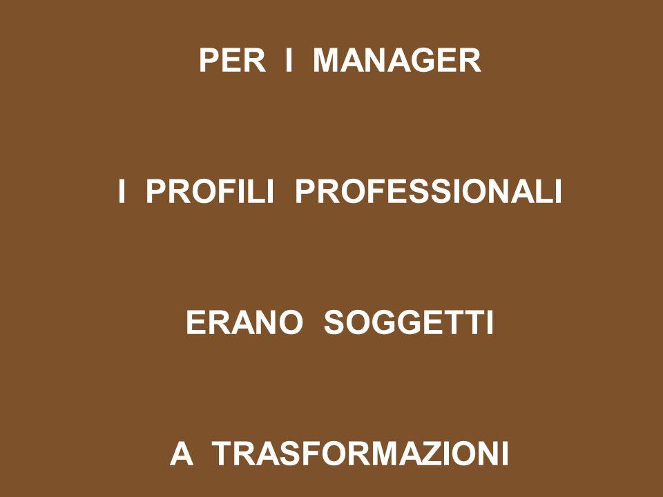 PER I MANAGER I PROFILI PROFESSIONALI ERANO SOGGETTI A TRASFORMAZIONI