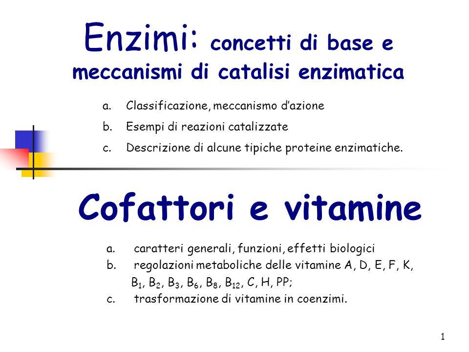 1 Enzimi: concetti di base e meccanismi di catalisi enzimatica a.Classificazione, meccanismo dazione b.Esempi di reazioni catalizzate c.Descrizione di